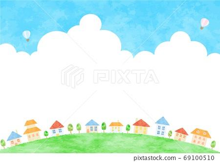 令人耳目一新的雲彩和城市景觀的插圖 69100510