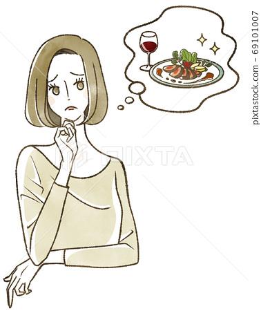 식사를 생각하는 여성 69101007