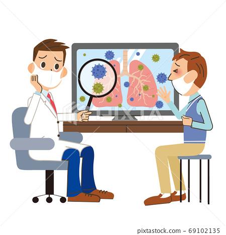 醫生和病人檢查肺 69102135