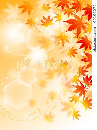音樂的閃光柔和的秋葉背景垂直矢量排列可調 69103079