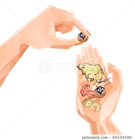 用草藥在手掌上的插圖 69104500