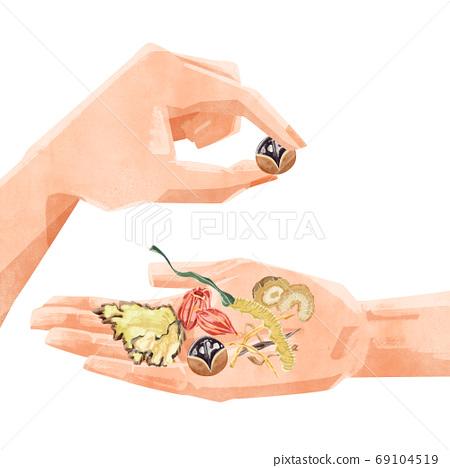 您手中的草藥插圖 69104519