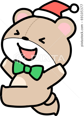 Teddy bear wearing a Santa hat 69105377