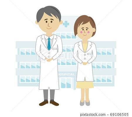 醫院和醫生的插圖圖像 69106505