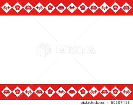 松竹梅紅色和白色框架 69107411