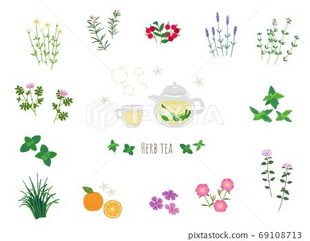 新鮮的涼茶和草藥的插圖 69108713