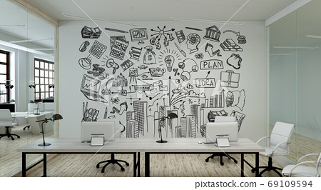 A modern office with creative business strategy sketch drawn on white wall 69109594