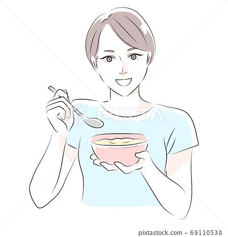 오트밀을 먹는 여자 일러스트 69110538