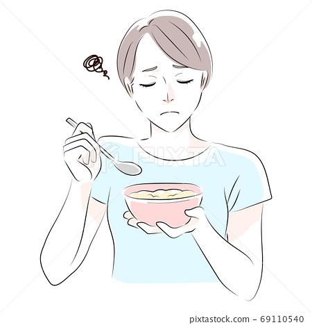 女人吃燕麥片的插圖 69110540