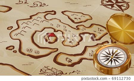 老藏寶圖與指南針的背景插圖 69112730