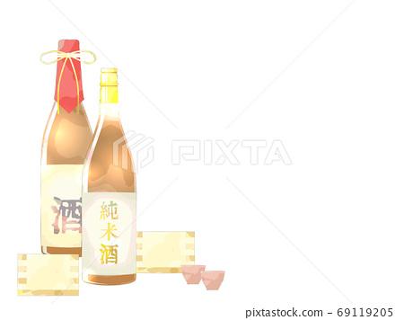 日本清酒插畫背景,水彩風格 69119205
