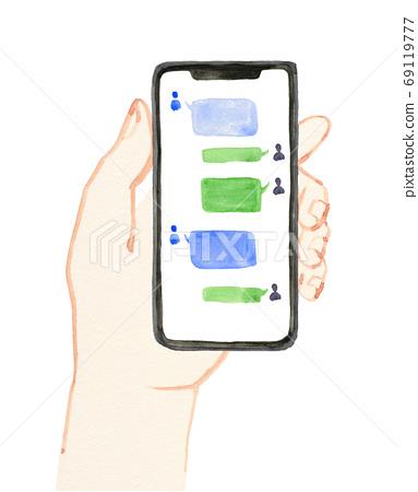 我手中的智能手機的水彩插圖 69119777