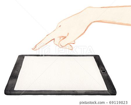 平板電腦輸入的水彩手繪插圖 69119823