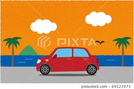 저녁 해안 길로 빨간 자동차의 벡터 일러스트 69123973