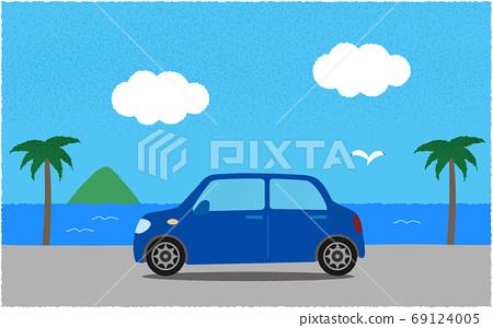 해안의 길로 푸른 자동차의 벡터 일러스트 69124005