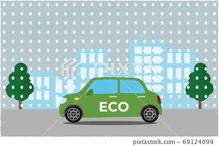 矢量圖的綠色生態汽車在雪中的城市道路上行駛 69124099