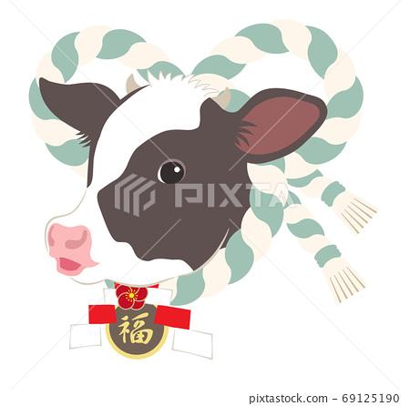 2021年新年與西梅納瓦小牛肉的插圖 69125190