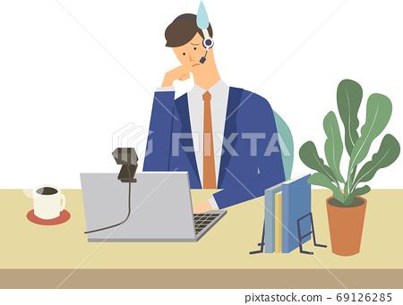 矢量圖的一個人正在與個人計算機在線英語對話 69126285