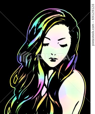 여성 칠색 잘라 그림 69129128