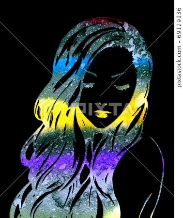 여성 칠색 잘라 그림 69129136