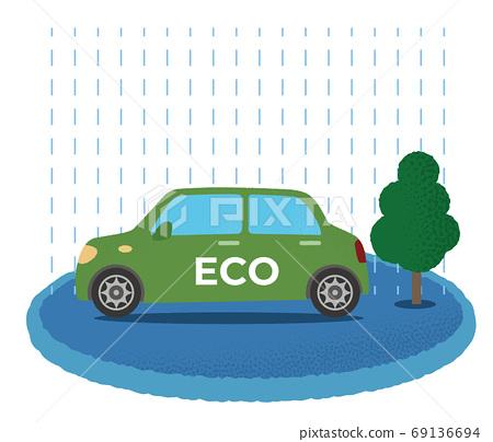 洪水中的綠色生態汽車的矢量圖 69136694