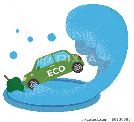 洪水中的綠色生態汽車的矢量圖 69136699