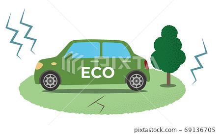 遭受地震的綠色生態汽車的矢量圖 69136705