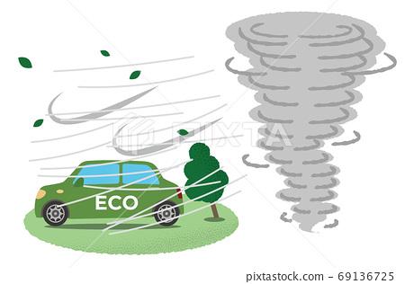 遭受龍捲風破壞的綠色生態汽車的矢量圖 69136725