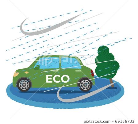 遭受風暴的綠色生態汽車的矢量圖 69136732