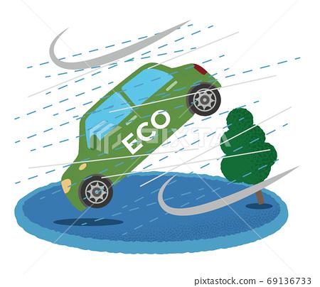 遭受風暴的綠色生態汽車的矢量圖 69136733