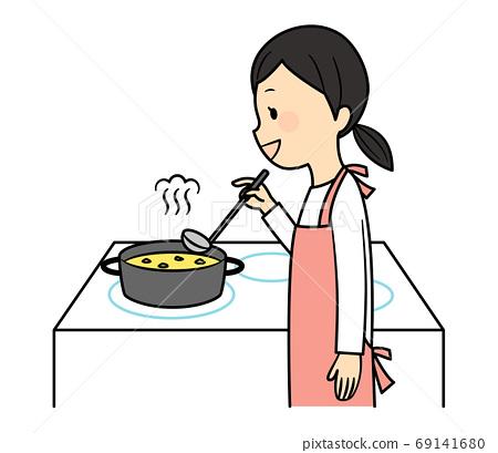 요리를하는 여자 69141680