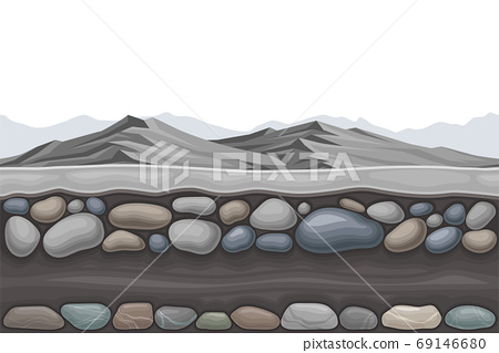 Game Platform with Rocky Mountain Peaks Vector Illustration 69146680