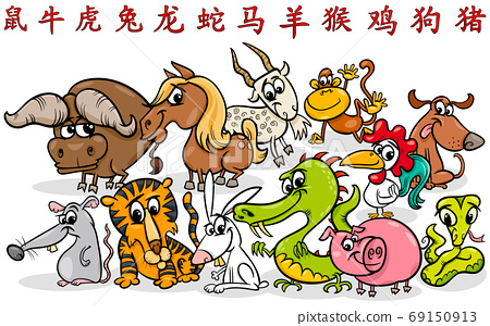 cartoon Chinese zodiac horoscope signs collection 69150913