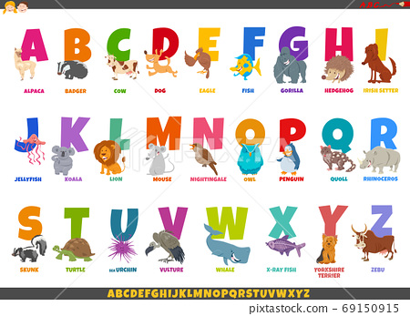 cartoon alphabet set with funny animal characters 69150915