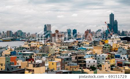 Kaohsiung harbor city and Cijin island panorama view in Taiwan 69151729