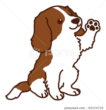 坐在布朗騎士國王查爾斯獵犬主線時握手 69154728