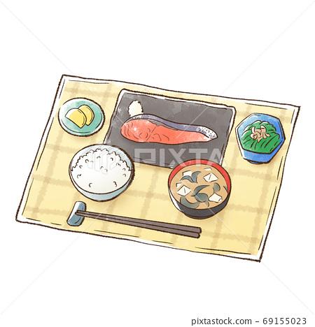 餐點:烤三文魚和白米飯,配味mis湯 69155023