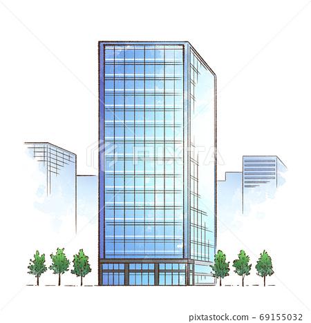辦公大樓_玻璃高層建築 69155032