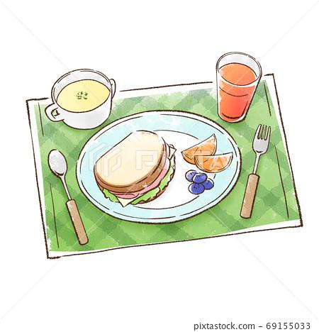 三明治中的水果和土豆粉 69155033