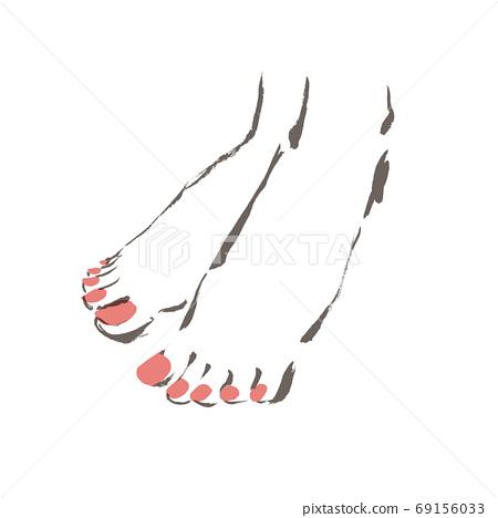 네일을 한 여성의 다리 페디큐어를 한 손으로 그린 세련된 다리의 일러스트 소재 69156033