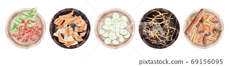 Chinese herbal medicine illustrations placed in a plate 69156095