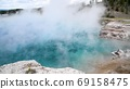 Hot blue pool in Yellowstone National Park, Wyoming, USA 69158475