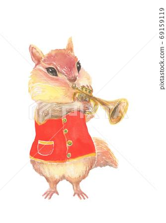 Squirrel blowing a trumpet in watercolor 69159119