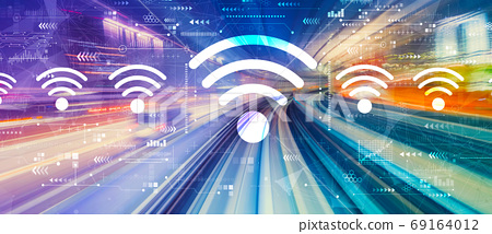 Wifi theme with high speed motion blur 69164012