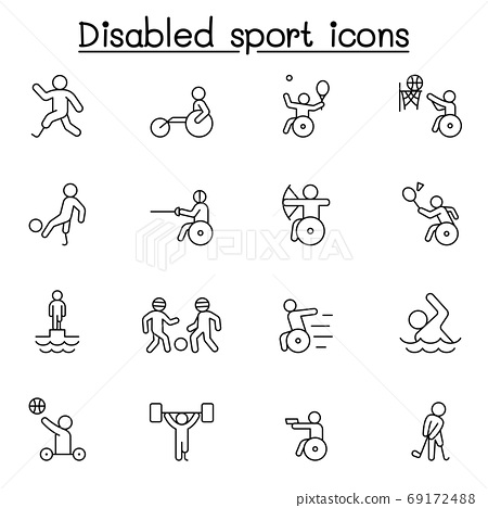 Disabled sport icon set in thin line style 69172488