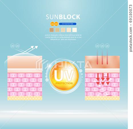 UV reflection skin after protection vector design. 69180873
