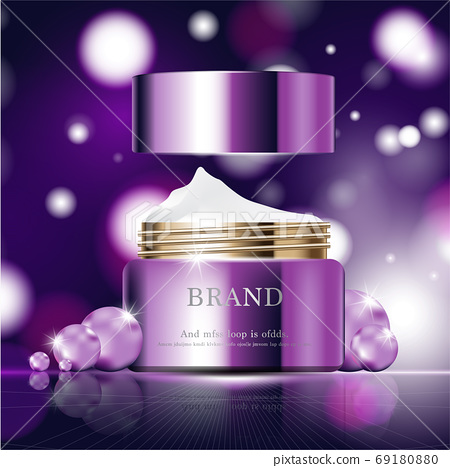 Hydrating facial skincare for annual sale or festival sale. silver brown cream mask bottle isolated on glitter particles background for product presentation. Graceful cosmetic ads. 69180880