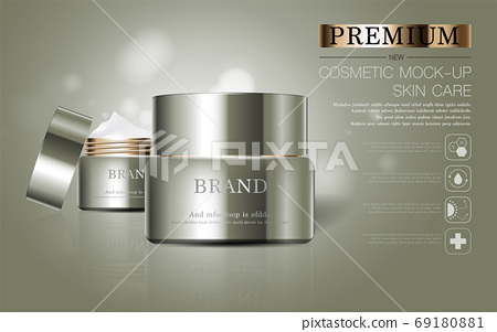 Hydrating facial skincare for annual sale or festival sale. silver brown cream mask bottle isolated on glitter particles background for product presentation. Graceful cosmetic ads. 69180881