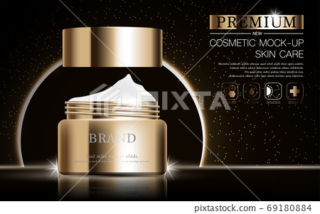 Hydrating facial skincare for annual sale or festival sale. silver brown cream mask bottle isolated on glitter particles background for product presentation. Graceful cosmetic ads. 69180884