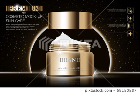 Hydrating facial skincare for annual sale or festival sale. silver brown cream mask bottle isolated on glitter particles background for product presentation. Graceful cosmetic ads. 69180887
